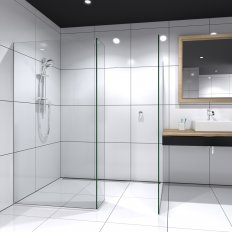 Devon Walk-In Tile Showers Chrome