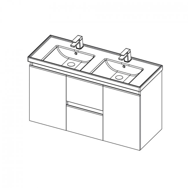 St Michel Dusk 1200 Double Basin, 2 Doors, 2 Drawers