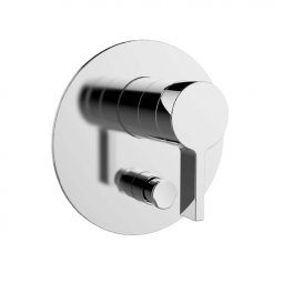 Components Shower/Bath Mixer with Diverter, Thin Trim, Lever Handle - Chrome