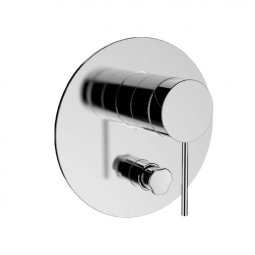 Components Shower/Bath Mixer with Diverter, Thin Trim, Pin Handle - Chrome