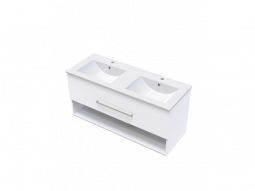 Cashmere 1200 Double Bowl Single Drawer Open Vanity