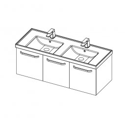 Dawn 1200 Double Basin, 2 Doors, 1 Drawer