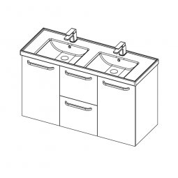 Dawn 1200 Double Basin, 2 Doors, 2 Drawers