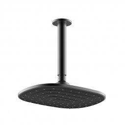 Que Rain Head Ceiling Mounted Black 180mm
