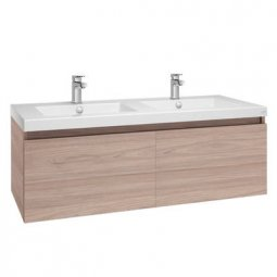 Valencia Twin Single Drawer Vanity 1200mm Double Bowl Wall Hung