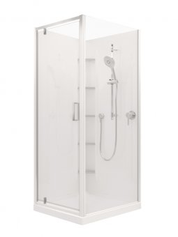Valencia Elite Corner Pivot Shower, Acrylic - 900x750mm/750x900mm
