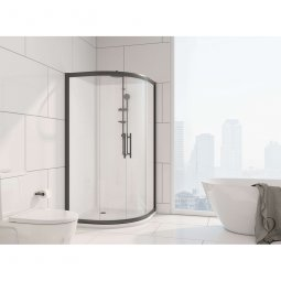 Zenith Black Framed Round Front Sliding Door Set & Acrylic Base Shower System
